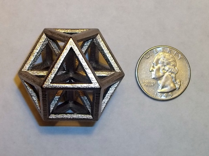 """Large Vector Equilibrium 1.5"""" 3d printed Vector Equilibrium in Polished Nickel Steel"""