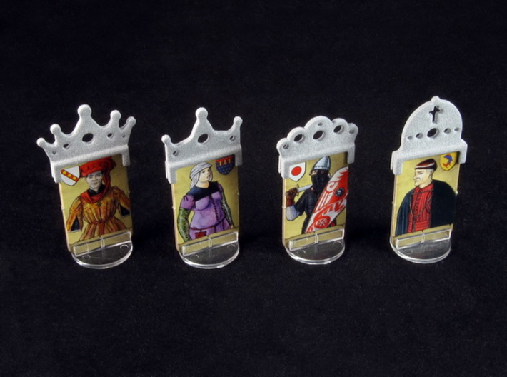 Fief - King etc. markers (4 pcs) 3d printed Polished metallic plastic. Standees copyright Asyncron - Academy Games.