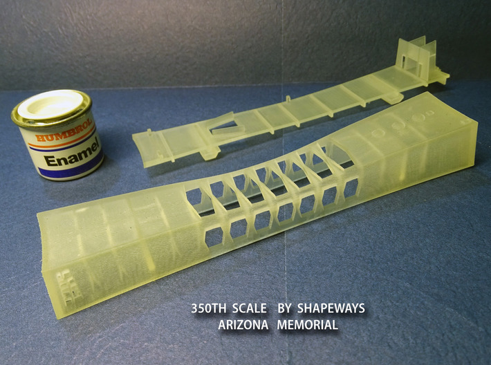 1/350 USS Arizona Memorial 3d printed Actual 3D-printed parts.  Photo: Ray D. Bean.