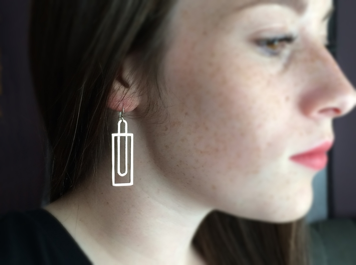 Simple Rectangles - Architectural Earrings 3d printed Minimalist design for classic good looks.