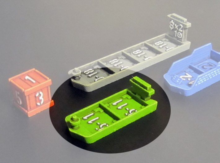 Cargo ships (4 pcs) 3d printed 2- slot cargo ship, hand-painted.