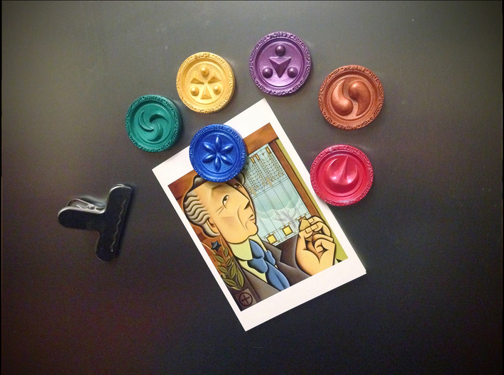 Sage Medallions 3d printed You can make them into anything you like! ((In this case, fridge magnets!))
