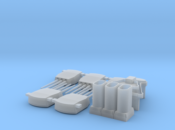 1:700 Tillman superstructure,funnels, and turrets 3d printed