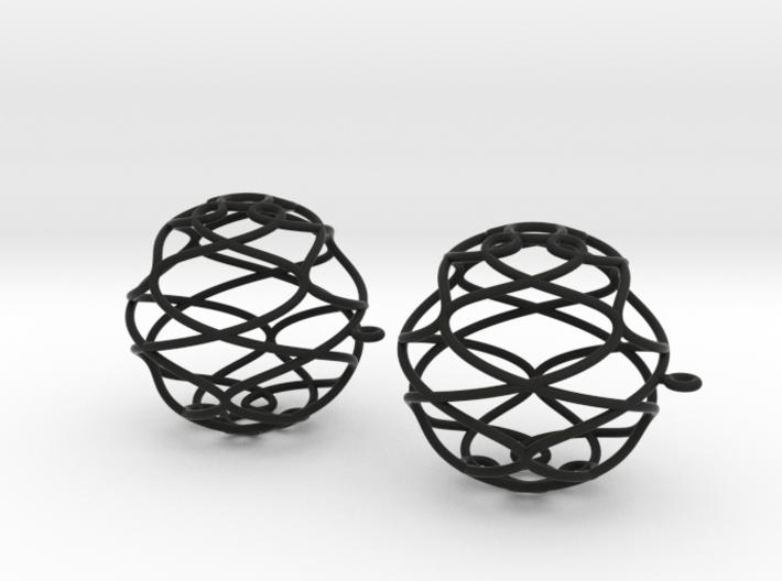 Earrings 3D curve on sphere 3d printed