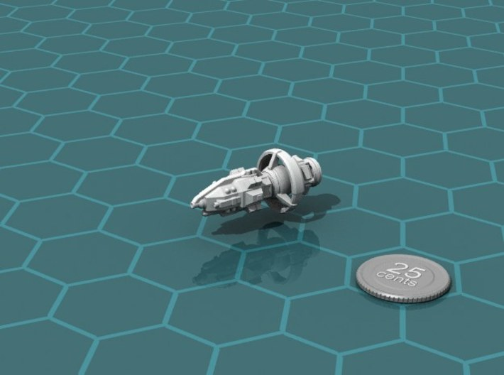Buru Gunship 3d printed Render of the model, with a virtual quarter for scale.