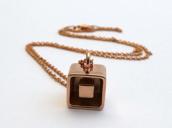 Levitation Cube Pendant 3d printed Levitation Cube in rose gold-plated brass