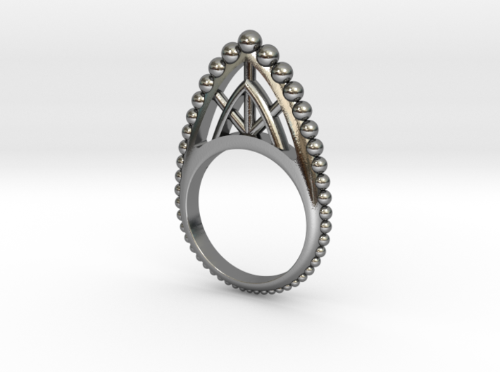 Edo Stackable Ring with Beads 3d printed