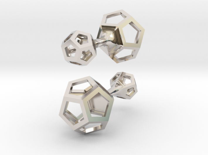 Dodecahedron cufflinks 3d printed rhodium plated dodecahedron cufflinks 1