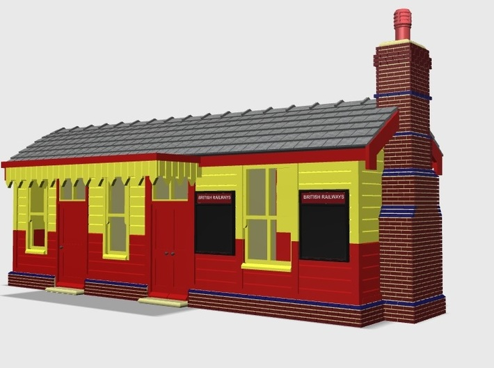 CO42 Consall Station 3d printed Shown with the notice boards and Chimney