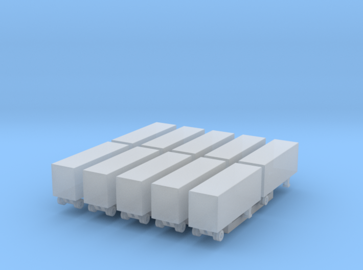 28 Foot Box Trailer - Set of 10 - 1:700scale 3d printed