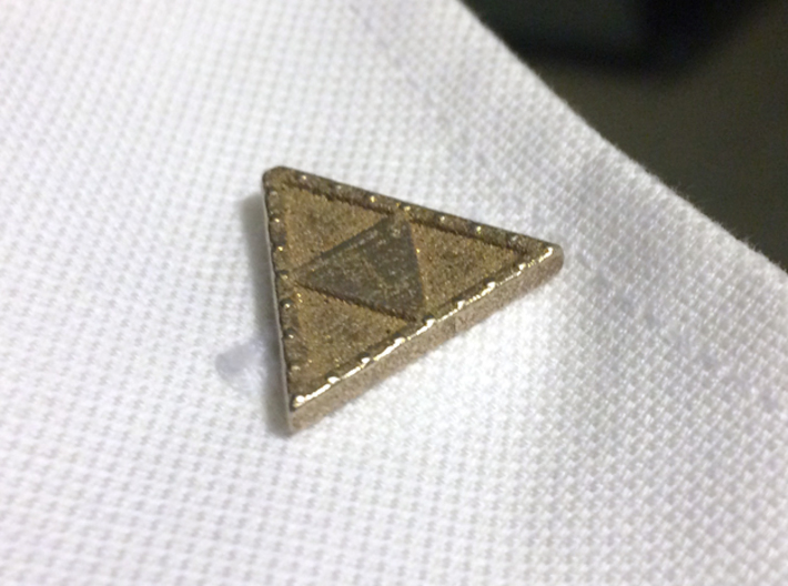Triforce Cufflinks 3d printed Cufflink in use on a double French cuff shirt.