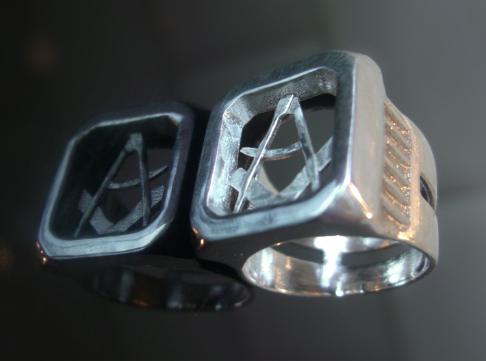 Masonic Signet Ring 3d printed I polished this ring up before giving it to the customer.
