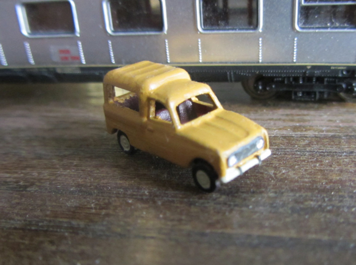 Renault 4 van 1:160 Scale (Lot of 2 cars) 3d printed In Danish Postal service colors (Oldenborg-Gul) Pantone: 109. Hex: F9D616