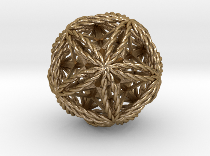Twisted Icosasphere w/nest Stellated Dodecahedron 3d printed