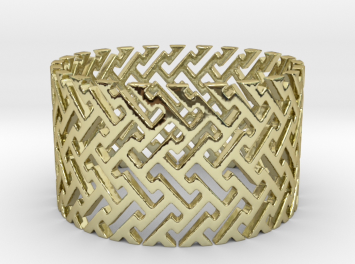 Woven Ring (Size 11.25-13) 3d printed Woven Ring in 18K Gold is shining brightly.