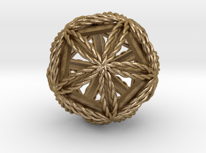 """Twisted Icosasphere w/ nested Icosahedron 1.8"""" 3d printed"""