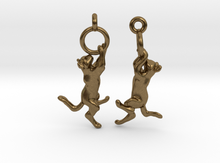 Hanging Cat Earrings 3d printed