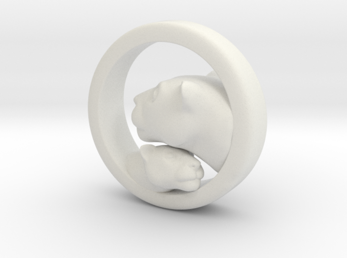 Lioness and Cub Pendant 3d printed