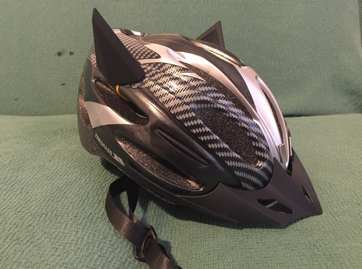 Pair of Bat Ears for Cycle Helmet 3d printed Attached to a basic helmet.