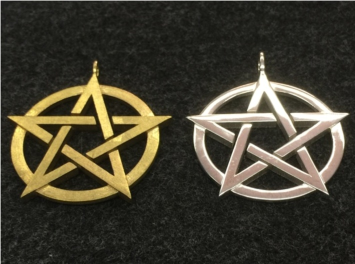 Pentagram Pendant 3d printed On the left is the pendant in raw brass, on the right is the pendant in polished silver.