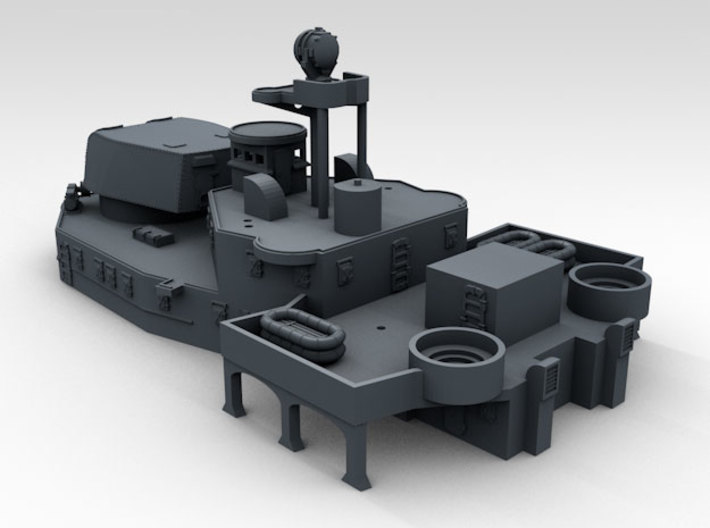 1/600 HMS Ajax Aft Superstructure 3d printed Render displaying part detail. Also shows with other items available items not included in the set.