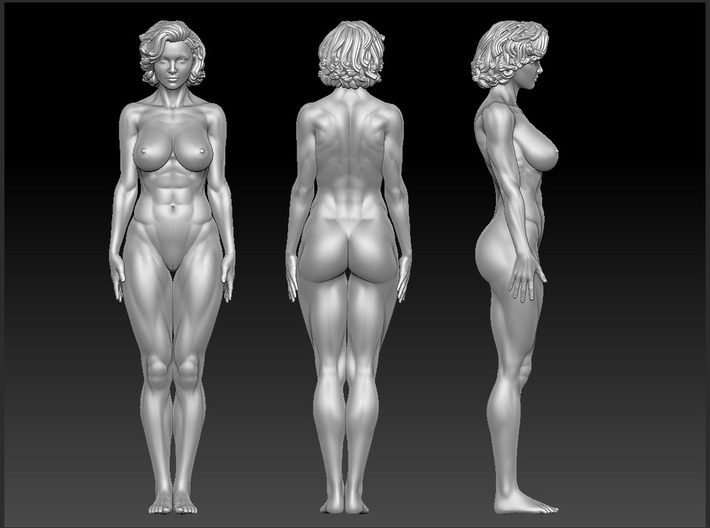 Fitness Short-haired girl 1/10 3d printed