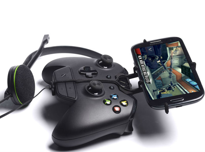 Xbox One controller & chat & HTC Desire 530 - Fron 3d printed Side View - A Samsung Galaxy S3 and a black Xbox One controller & chat