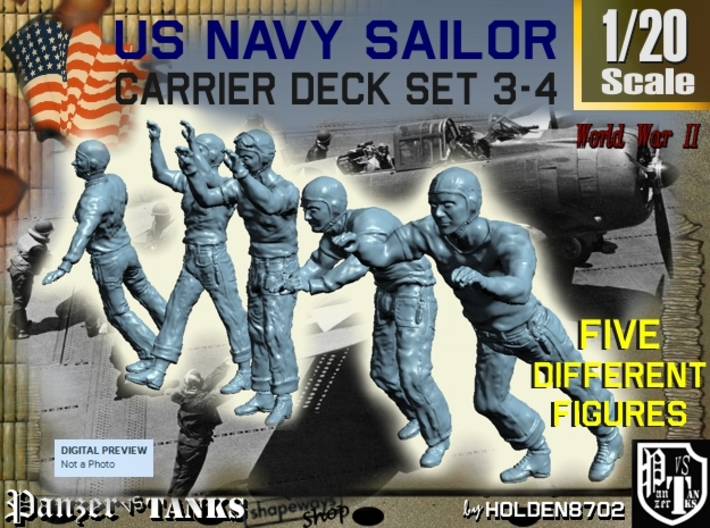 1-20 US Navy Carrier Deck Set 3-4 3d printed