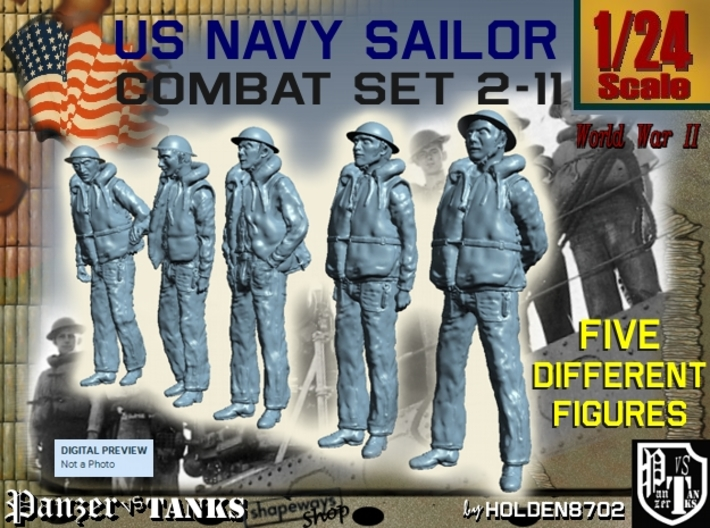 1-24 US Navy Sailors Combat SET 2-11 3d printed