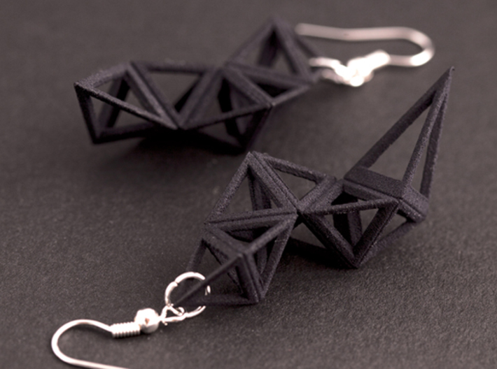CRYSTAL - earrings 3d printed Crystal in black