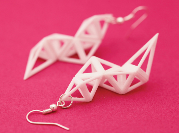 CRYSTAL - earrings 3d printed Crystal in white