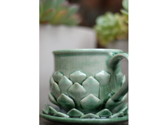 Succulent Mug 3d printed Shown with matching saucer (sold separately)