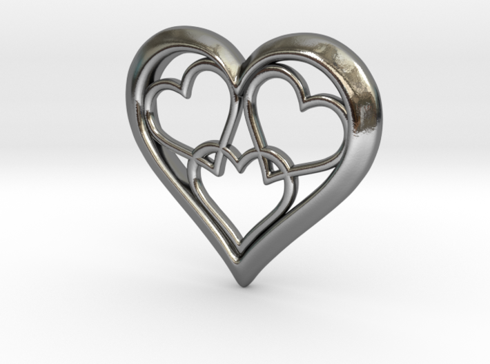 3 in 1 Hearts Pendant 3d printed