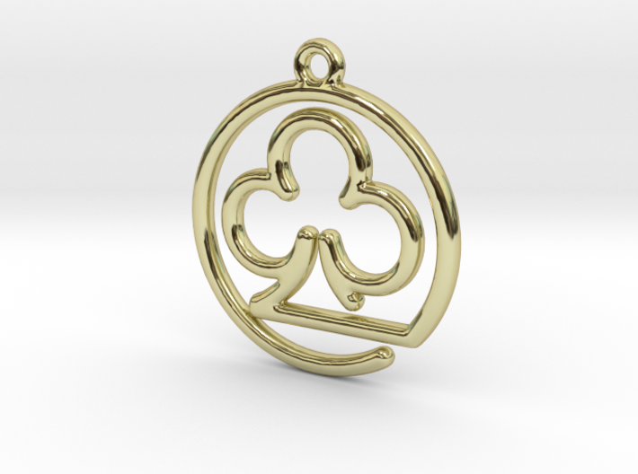 Club Card Game continuous line Pendant 3d printed