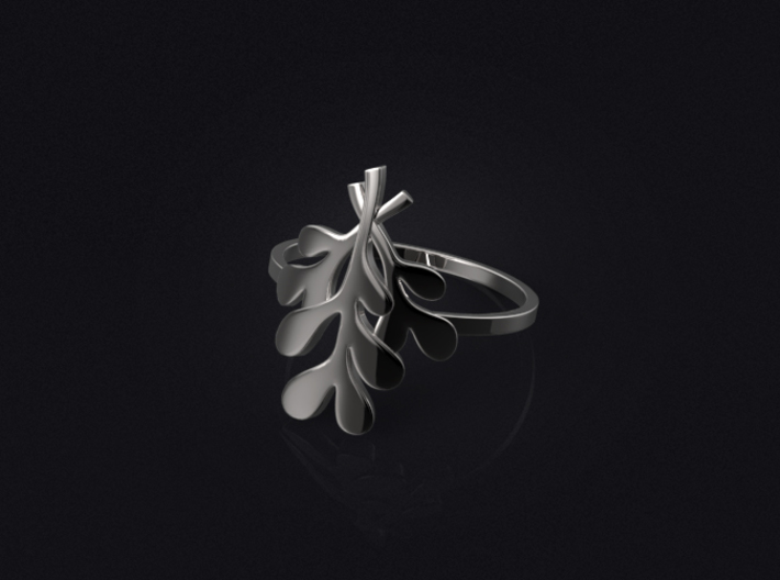 Mistletoe Ring 3d printed 3D visualization of the ring in silver.