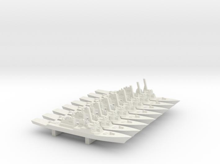 Arleigh Burke Flight I/II x 8, 1/3000 3d printed