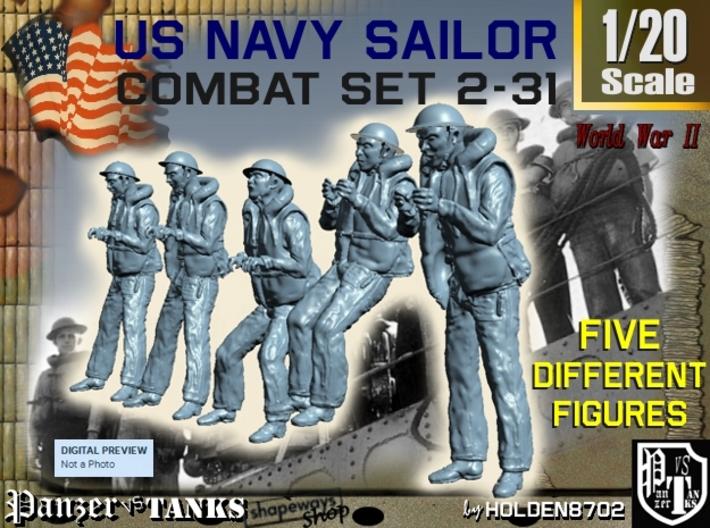1-20 US Navy Sailors Combat SET 2-31 3d printed