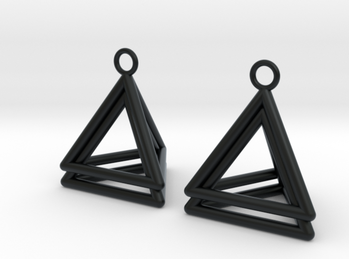 Pyramid triangle earrings type 4 3d printed