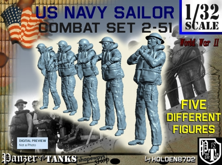 1-32 US Navy Sailors Combat SET 2-51 3d printed