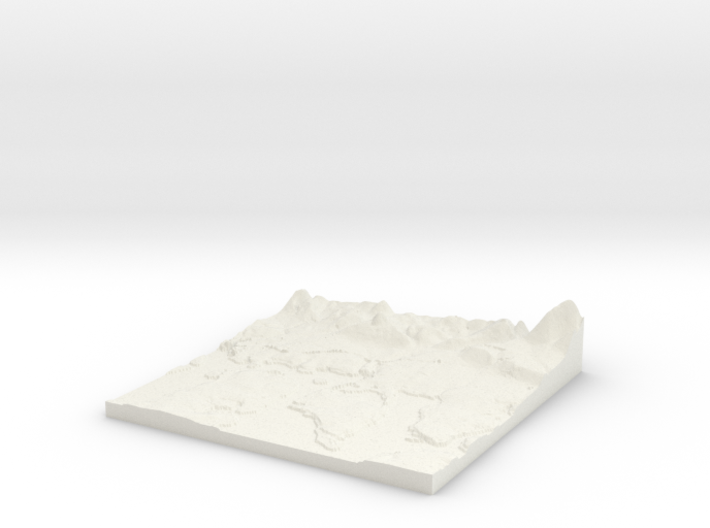 Relief Map of Havant, Hayling and Emsworth area. 3d printed