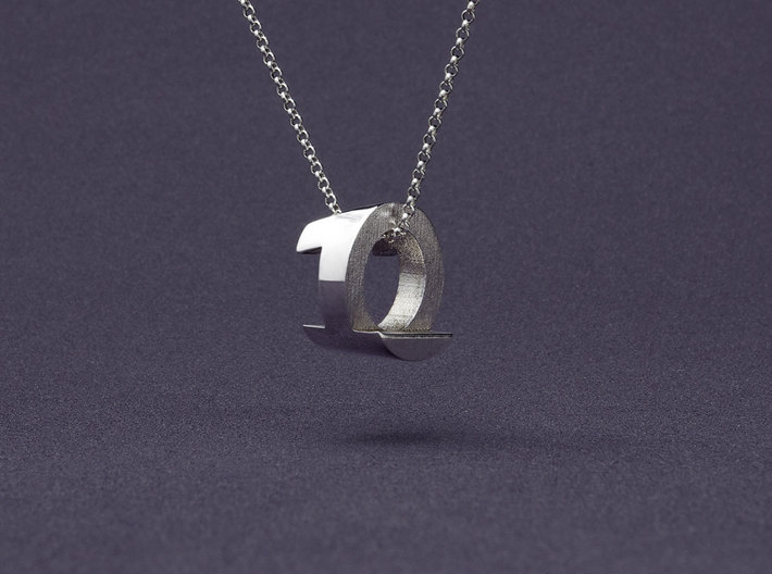 Mymo Silver Monogram Necklace 3d printed Shown with 1 and 0, pick any two letters or numbers