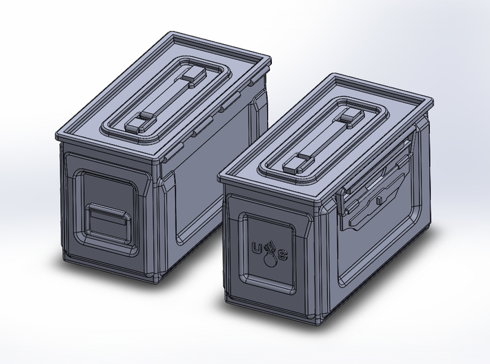 1/48 .50 cal Ammo Cans (12) 3d printed Both sides