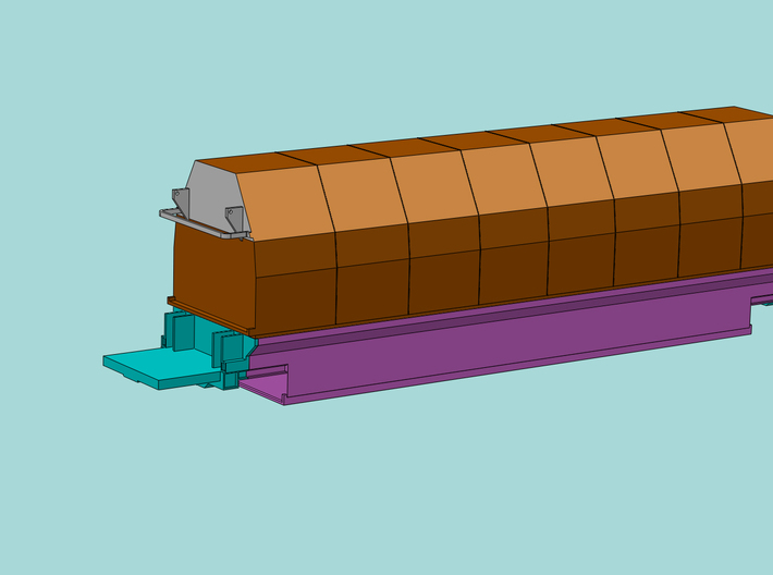 HO 1/87 Boeing 777 Canopy Railroad Car - Body 3d printed CAD model render, showing the parts assembled. Note the hood is NOT part of this model.