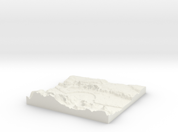 3D Relief map of Grays Thurrock & Tilbury in Essex 3d printed