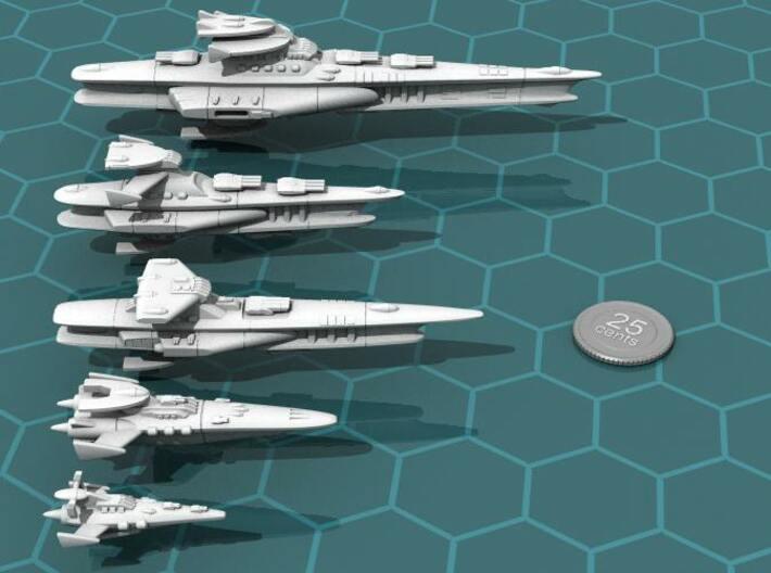Novus Regency Fast Cruiser 3d printed The Hermes class cruiser (center) in relation to the other Novus Regency ships.