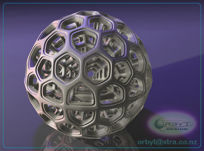 Radiolarian Sphere 2 3d printed Raytraced render simulating White Strong and Flexible material