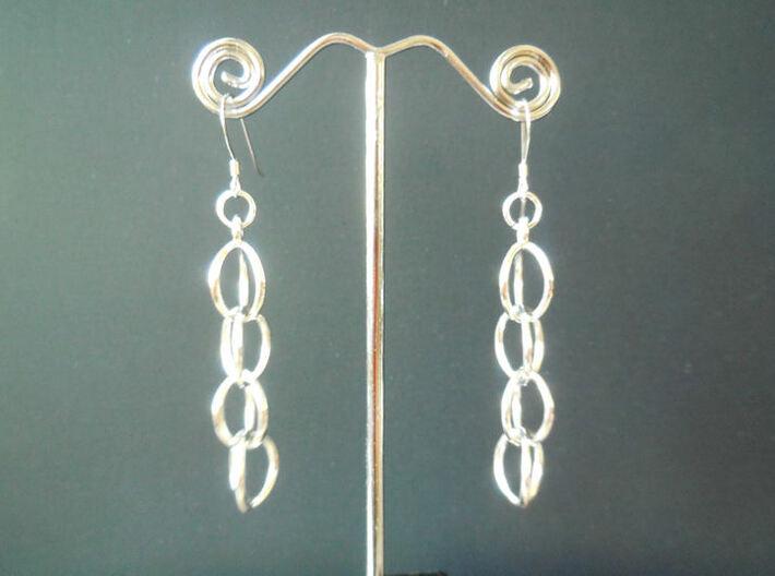 Rain Chain - Precious Metal Earrings  3d printed