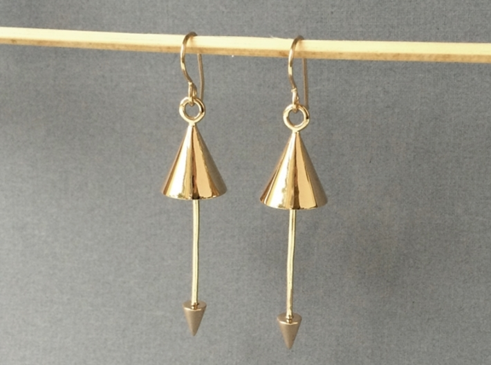 Earrings - Pendulum Dangle Earrings 3d printed Polished Bronze
