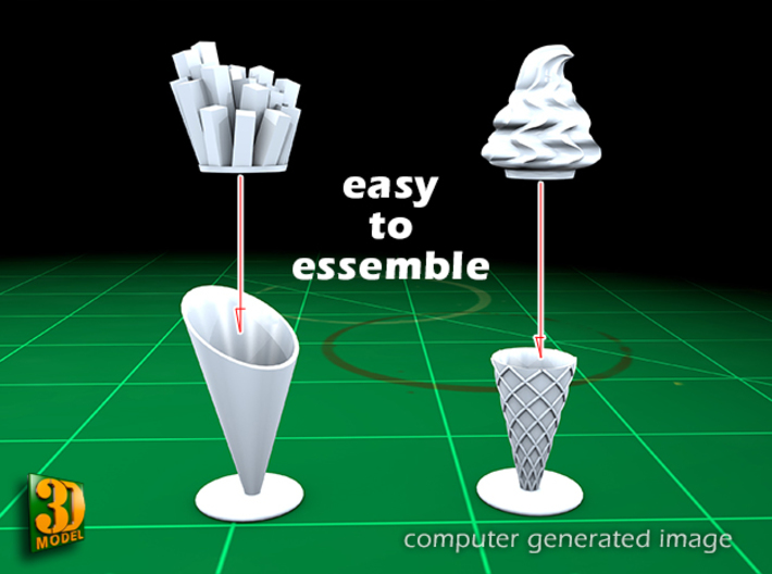 8 ICE & FRIES display stand (1:87) 3d printed ICE & FRIES display stands - assembly