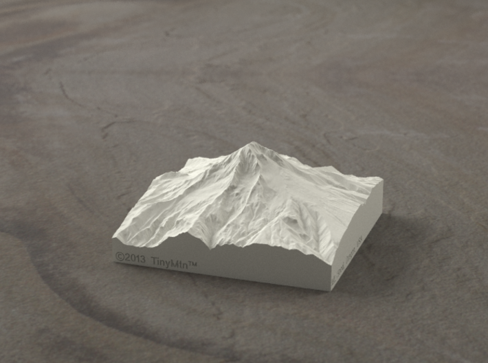 3'' Mt. Hood, Oregon, USA, Sandstone 3d printed Radiance rendering of Mt Hood terrain model from the West.